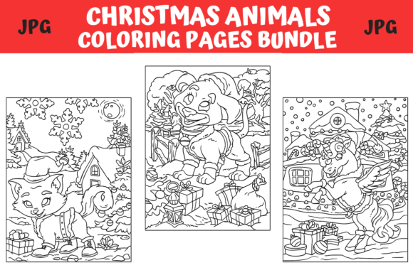 Print on Demand: Christmas Animals Coloring Pages Bundle  von MyBeautifulFiles