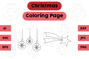 Christmas Coloring Page Decoration Set 1 Graphic Coloring Pages & Books Kids By isalsemarang