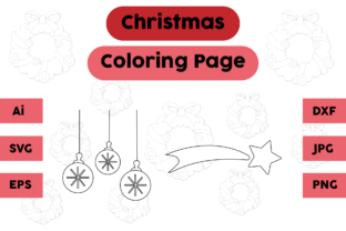 Christmas Coloring Page Decoration Set 2 Graphic Coloring Pages & Books Kids By isalsemarang