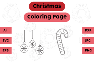 Christmas Coloring Page Lamp Candy Set Graphic Coloring Pages & Books Kids By isalsemarang