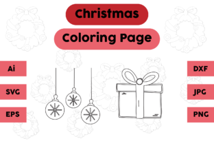 Christmas Coloring Page Lamp Gift Set 03 Graphic Coloring Pages & Books Kids By isalsemarang