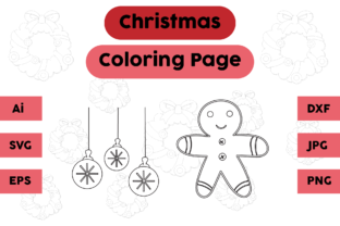 Christmas Coloring Page Lamp Ginger Set Graphic Coloring Pages & Books Kids By isalsemarang