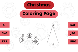 Christmas Coloring Page Lamp Tree Set 01 Graphic Coloring Pages & Books Kids By isalsemarang
