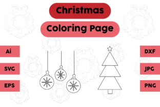 Christmas Coloring Page Lamp Tree Set 02 Graphic Coloring Pages & Books Kids By isalsemarang