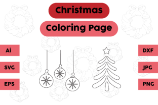 Christmas Coloring Page Lamp Tree Set 03 Graphic Coloring Pages & Books Kids By isalsemarang