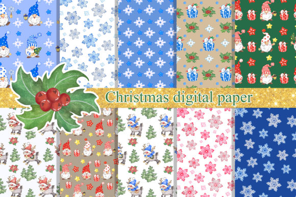 Christmas Digital Paper Gnomes, Reindeer Graphic Backgrounds By EvArtPrint