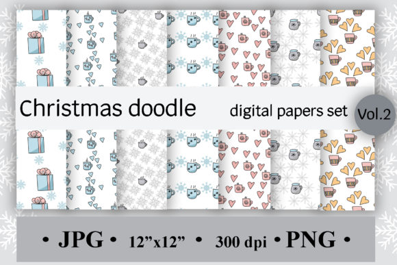 Christmas Doodle Digital Paper - Set of 7 Graphic Backgrounds By SunnyColoring