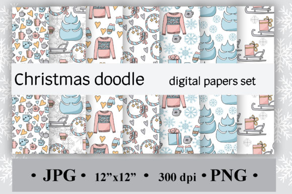 Christmas Doodles, Digital Paper Graphic Backgrounds By SunnyColoring