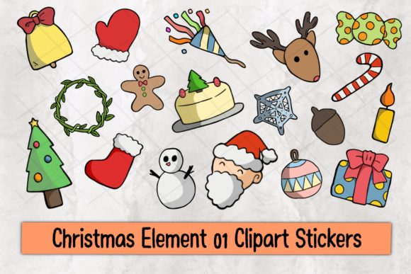 Christmas Element 01 Clipart Stickers Graphic Illustrations By TakeNoteDesign