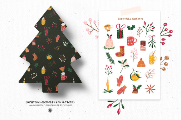 Print on Demand: Christmas Elements and Patterns Graphic Objects By webvilla