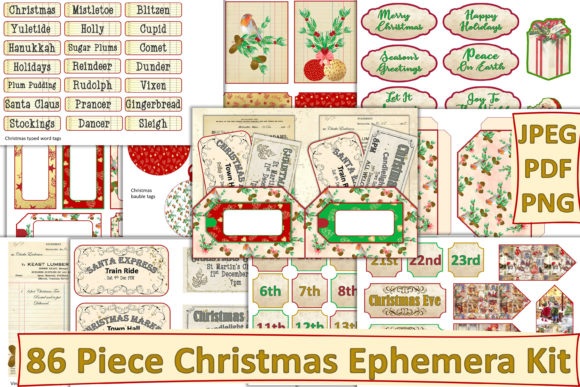 Print on Demand: Christmas Ephemera Kit 86 Pieces Graphic Crafts By The Paper Princess