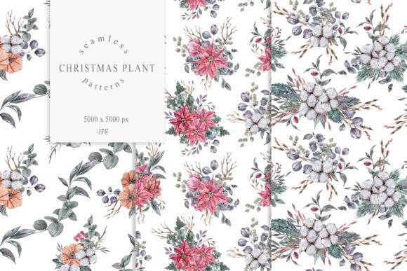 Print on Demand: Christmas Floral Seamless Patterns Graphic Patterns By Tiana Geo
