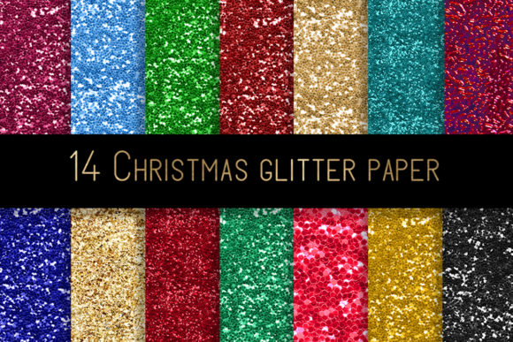 Print on Demand: Christmas Glitter Digital Paper Graphic Patterns By beracaink