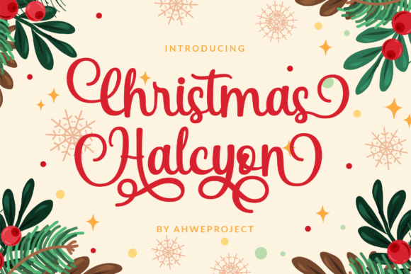 Print on Demand: Christmas Halcyon Script & Handwritten Font By ahweproject