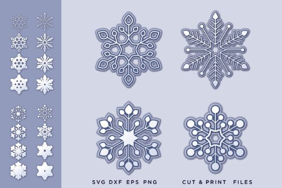 Christmas Snowflakes Layer Graphic 3D SVG By 2dooart
