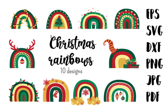 Christmas Rainbows. Svg Cutting Files. Graphic Crafts By inkoly.art