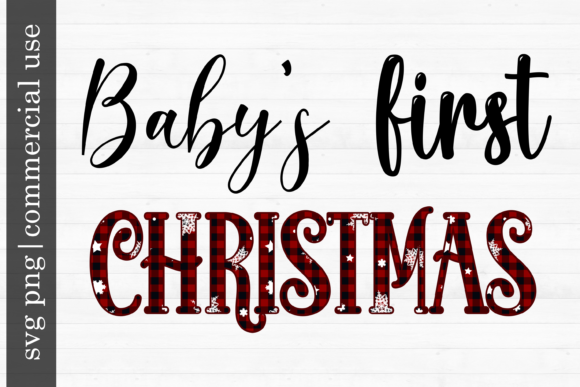 Print on Demand: Christmas Svg Baby's First Christmas Graphic Print Templates By inlovewithkats