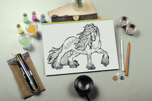 Coloring Pages Graceful Horses 12 Files Graphic Download