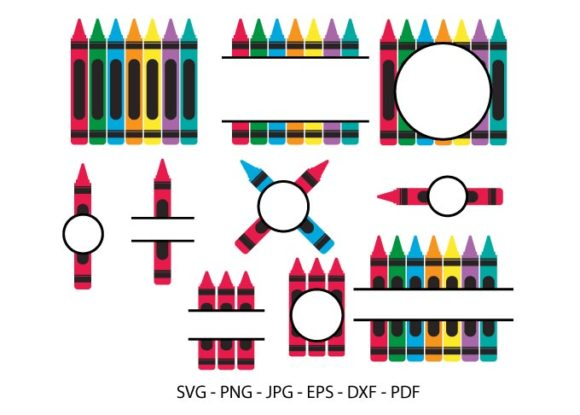 Crayon Split Monogram Svg,Back to School Graphic Crafts By RedCreations