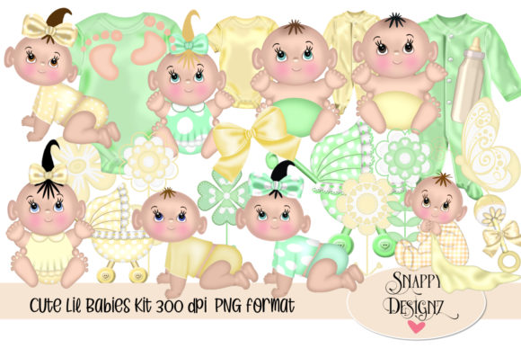 Cute Baby Digital Scrap Kit Graphic Illustrations By Snappyscrappy