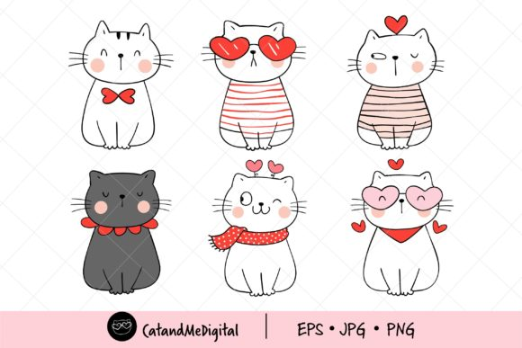 Cute Cat Valentine Clipart. Graphic Illustrations By CatAndMe
