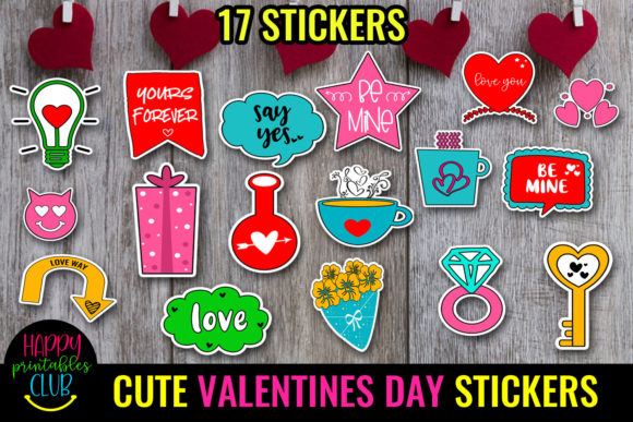 Cute Valentines Day Stickers - Love Sticke Graphic Crafts By Happy Printables Club