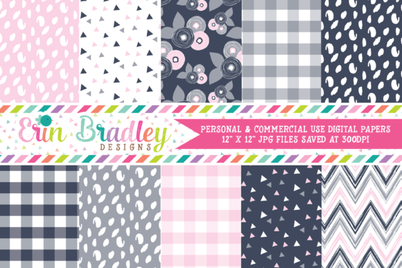 Print on Demand: Digital Papers - Navy Blue Gray & Pink Graphic Backgrounds By Erin Bradley Designs