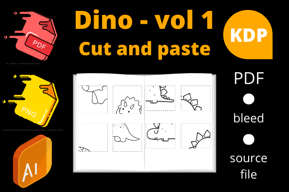 Print on Demand: Dinosaurs Cut and Paste | KDP Volume 1 Graphic KDP Interiors By Dunkyshot