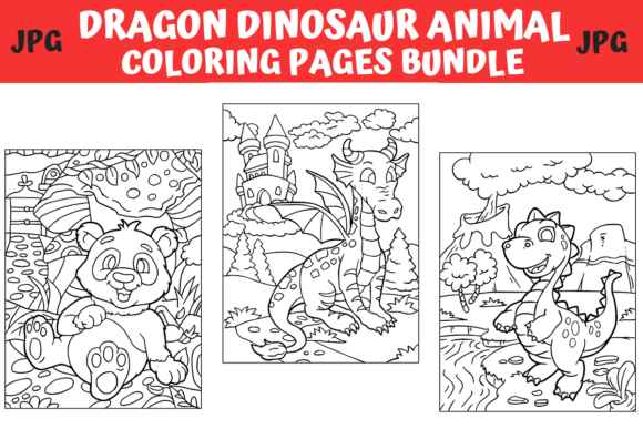 Print on Demand: Dragon Dinosaur Animal Coloring Bundle  von MyBeautifulFiles