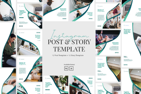 Print on Demand: Elegant Puzzle Corporate Instagram Graphic Web Elements By peterdraw