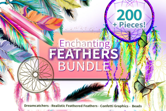 Print on Demand: Enchanting Feathers Graphic Bundle Graphic Illustrations By Digital Doodlers