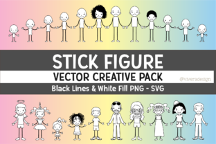 Print on Demand: Family Stick Figures EPS   SVG   PNG Graphic Crafts By vivera