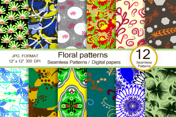 Floral Patterns, Scrapbook Papers Graphic Patterns By FolkStyleStudio