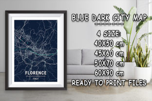 Print on Demand: Florence - Italy Blue Dark City Map Graphic Photos By tienstencil