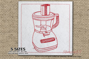 Food Processor Redwork Kitchen & Cooking Embroidery Design By Redwork101