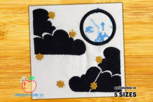 Full Moon with Cloud Dark Night Scene Cities & Villages Embroidery Design By embroiderydesigns101