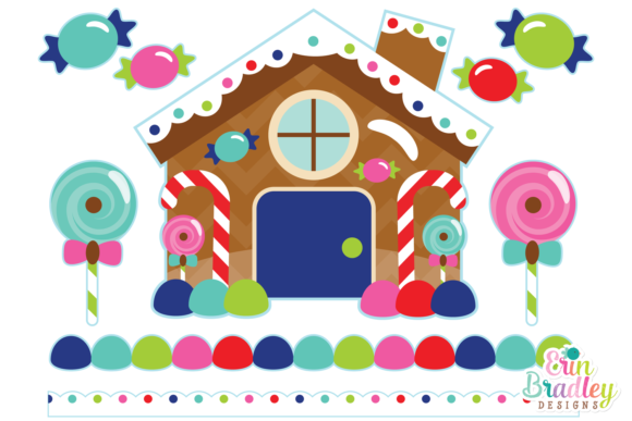 Print on Demand: Gingerbread House Clipart Graphics Graphic Illustrations By Erin Bradley Designs