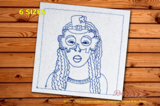 Girl Wearing Mask on St Patricks Day St Patrick's Day Embroidery Design By Redwork101
