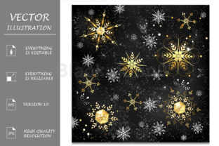 Golden Snowflakes on Black Background Graphic Illustrations By Blackmoon9