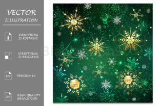 Golden Snowflakes on Green Background Graphic Illustrations By Blackmoon9