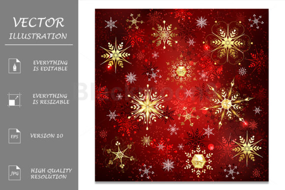 Golden Snowflakes on Red Background Graphic Illustrations By Blackmoon9