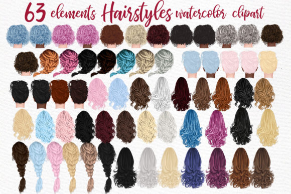 Hairstyles Clipart,Girls Hairstayles Grafik Illustrationen von LeCoqDesign