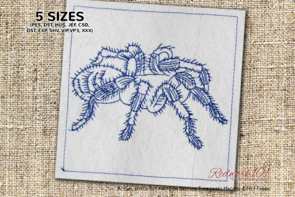 Hairy Tarantula Spider Redwork Bugs & Insects Embroidery Design By Redwork101