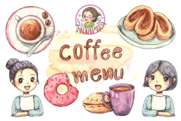 Hand Drawn Watercolor Coffee and Dessert Graphic Illustrations By huapika