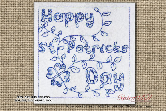 Happy St Patricks Day Redwork St Patrick's Day Embroidery Design By Redwork101