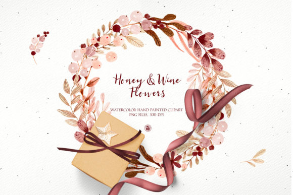Print on Demand: Honey and Wine Watercolor Flowers Graphic Illustrations By webvilla