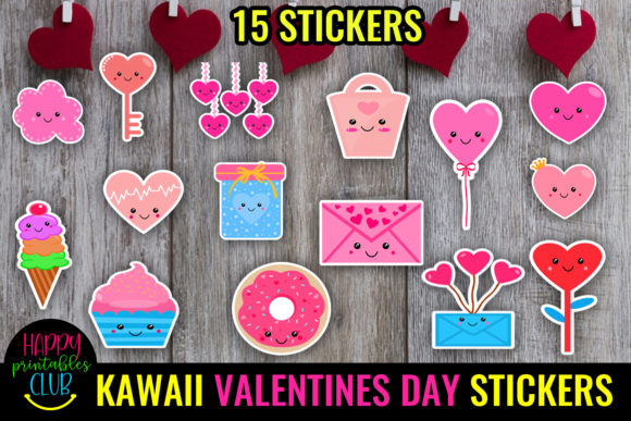 Kawaii Valentines Day Stickers - Love Graphic Crafts By Happy Printables Club