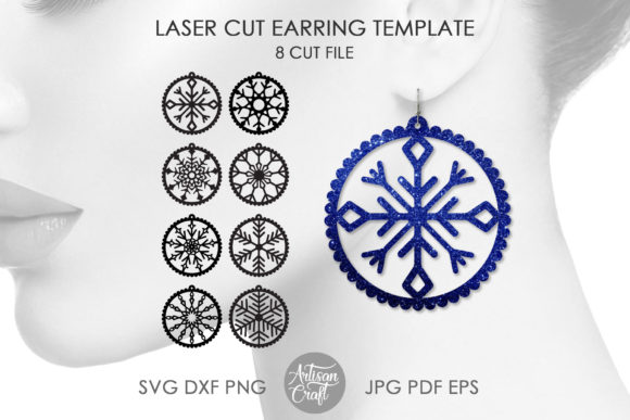 Print on Demand: Laser Cut Snowflake Earrings Graphic 3D SVG By Artisan Craft SVG