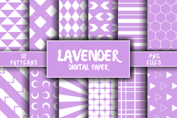 Print on Demand: Lavender Pattern Digital Paper Graphic Patterns By atlasart
