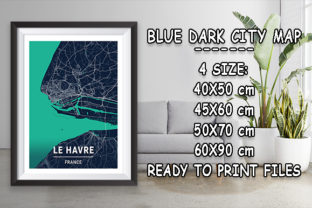 Print on Demand: Le Havre - France Blue Dark City Map Graphic Photos By tienstencil